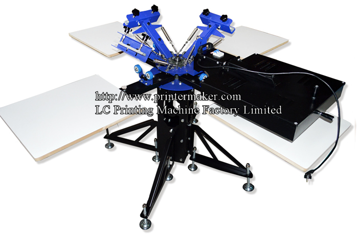 3 Color 4 Station Screen Printing Press With Flash Dryer