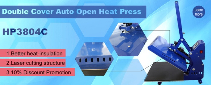 Double Cover Auto Open Heat Press Machine