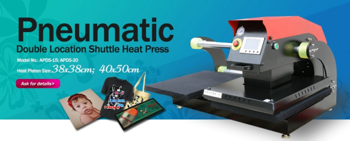 Pneumatic Double Location Shuttle Heat Press Machine