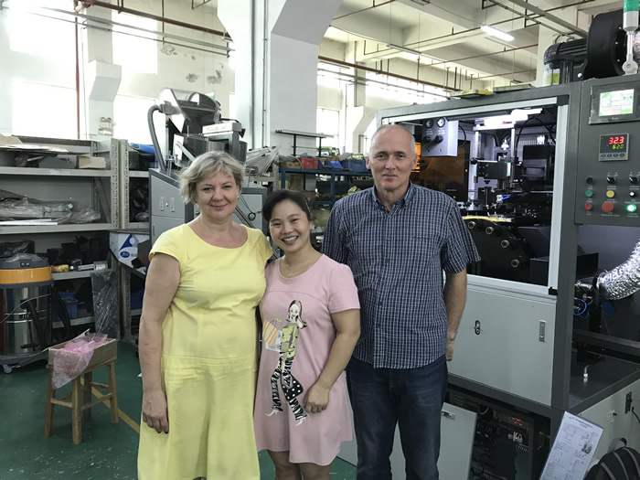 Customer from Poland come to check and his automatic silk screen printing machine